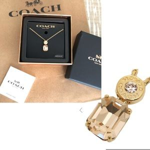 Coach Necklace w Clear Round & Champagne Crystal